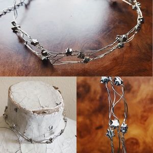Vintage 90s Wire Star Choker Necklace